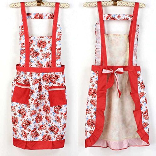 [Iuhan Fashion Korean Princess Aprons Double Widening Strap Rose Waterproof Aprons (Red)] (1950s Geek Costume)