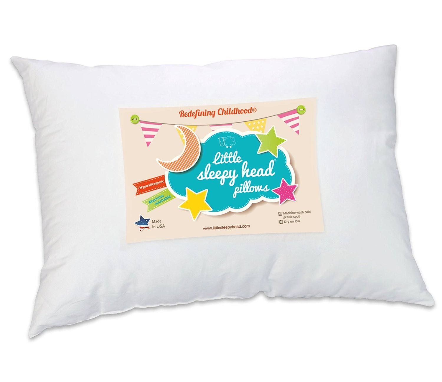 Toddler Pillow - Soft Hypoallergenic - Best Pillows for Kids! Better Neck Support and Sleeping! They Will Take a Better Nap in Bed, a Crib, or Even on the Floor at School! Makes Travel Comfier in a Car Seat or on an Airplane! Backed by Our Love Your Pillow