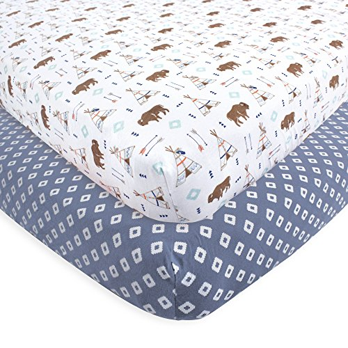 Hudson Baby Cotton Fitted Crib Sheets, 2 Pack, Teepee, One Size (Western Clothing South)