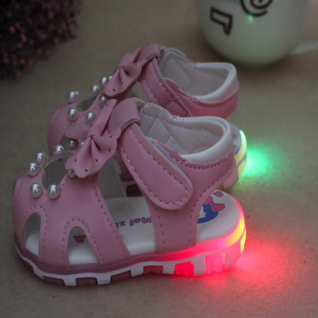 FNKDOR Neugeborene Baby M/ädchen LED Licht Sandalen Leuchtschuhe 0-2 Jahre Babyschuhe Bowknot Schuhe
