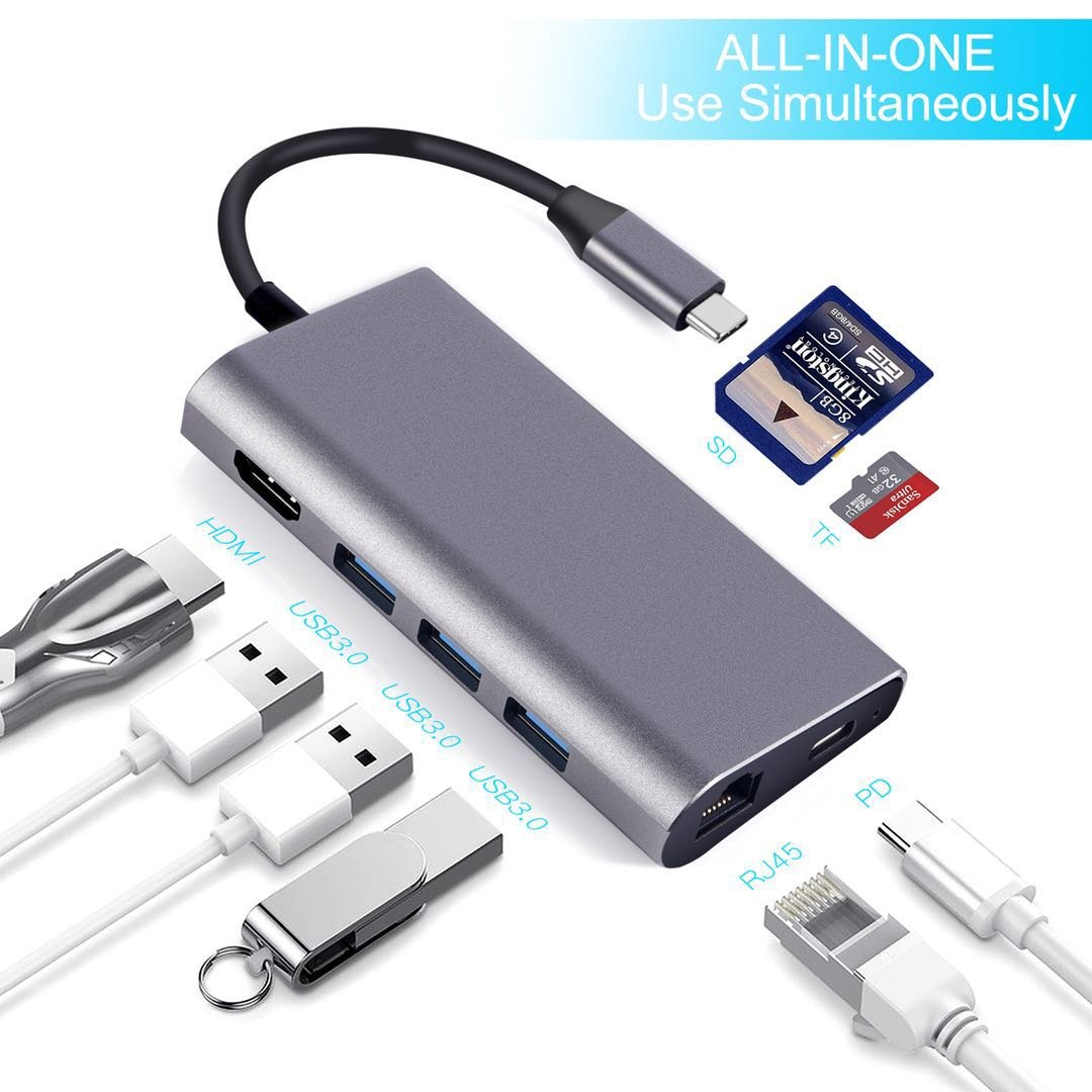 USB C Hub Aluminum Multi-Port Adapter with 4K HDMI,Gigabit Ethernet, TYPE C PD Charger Port, SD/Micro SD Card Slots, 3 USB 3.0 Ports for Apple MacBook 2017,Dell XPS 13, Google Chromebook(Space Gray)
