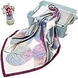 La Ferani – Pañuelo de seda de lujo 90 x 90 cm | bufanda para mujer con aspecto de seda y tacto | otoñal lila diseño…