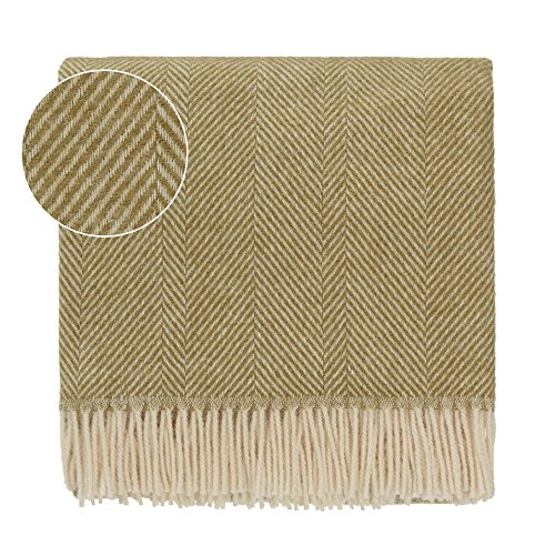 Cream Fringe - URBANARA 100% Pure Scandinavian Wool Throw Salantai 55x87 Moss Green/Cream with Fringe — Virgin Wool Blanket with Decorative Herringbone Design — Perfect for Your Couch, Sofa, Bedroom, Twin Size Bed