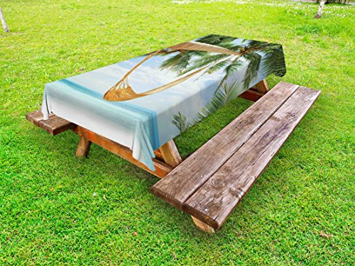 Ambesonne Beach Outdoor Tablecloth, View of Nice Hammock with Palms by The Ocean Sandy Shore Exotic Print, Decorative Washable Picnic Table Cloth, 58
