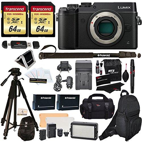 Panasonic DMC-GX8KBODY LUMIX GX8 Interchangeable Lens DSLM Camera Body Only + 2 Transcend 64 GB High Speed Class 10 + LED Kit + Polaroid Tripod + Monopod + 2 Spare Batteries + Charger + 2 Bags + More