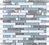 TSBKG-01 Blue Silver Brick Glass and Aluminum Mosaic Tile Sheet-Kitchen and Bath backsplash Wall Tile