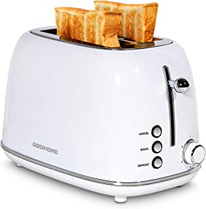 REDMOND 2 Slice Toaster Retro Stainless Steel Toaster with Bagel, Cancel, Defrost Function and 6 Bread Shade Settings Bread Toaster, Extra Wide Slot and Removable Crumb Tray, White, ST028