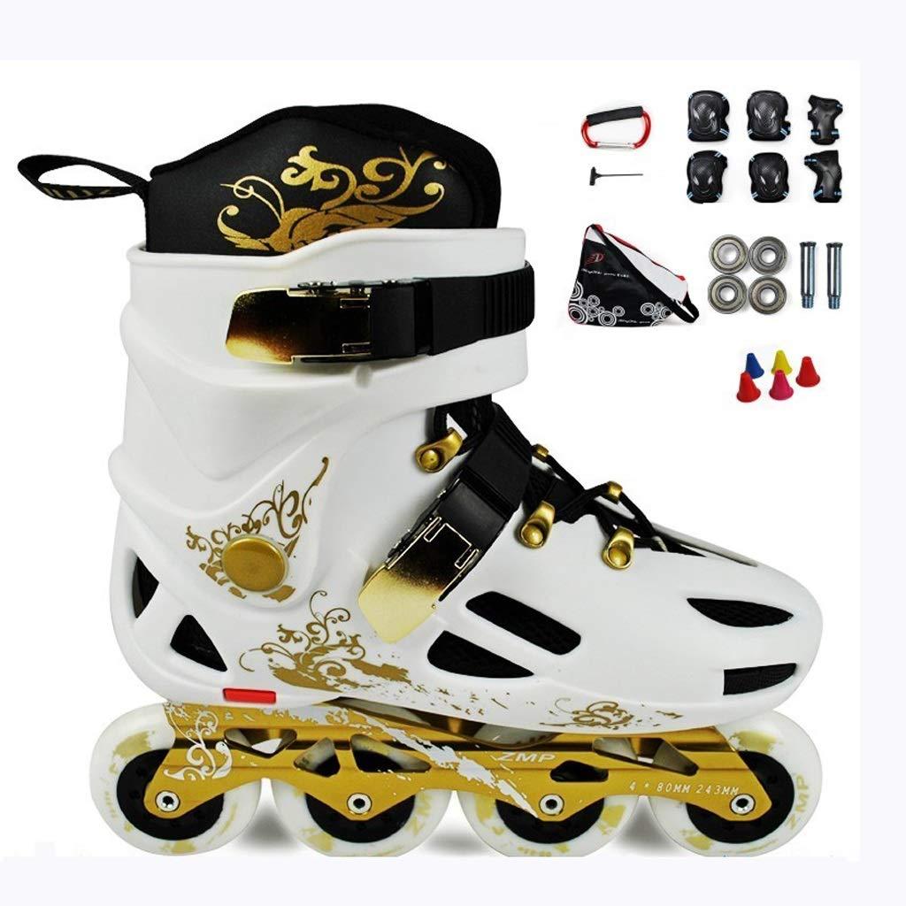 ZHANGHAIMING 大人のインラインスケート、男性の女性のための屋外のプロローラースケート、大学生の初心者スケート快適な 34-46ヤード、ブラックホワイト (Color : White, Size : EU 45/US 12/UK 11/JP 27.5cm) EU 45/US 12/UK 11/JP 27.5cm White B07T2D55LY