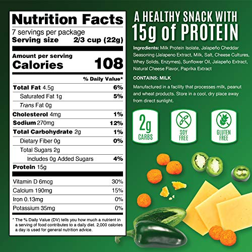 Snack House High Protein Low Carb Keto Snacks, Gluten Free Healthy Protein Puffs - No Sugar Added, Savory Diet Food for Adults and Kids, Jalapeño Cheddar, 7 Servings 2