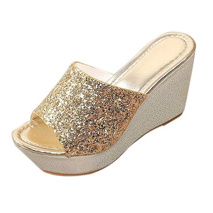 Women Ladies Summer Wedge Slippers 59264f1f2b8e