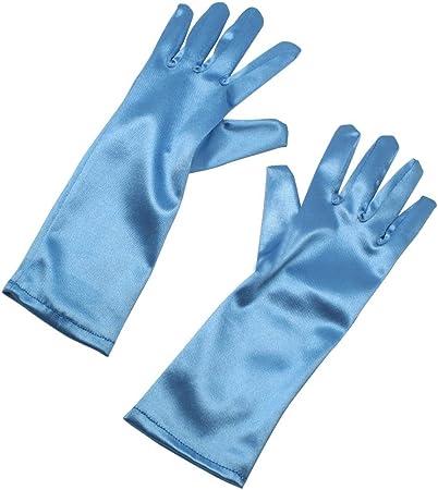 Black RUNHENG Stretchy Satin Child Size Long Gloves 9 Inch.