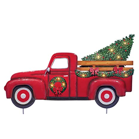 collections etc lighted vintage red truck with tree outdoor christmas decor