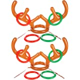 Uniqhia zy-Antler Ring Toss Game  Two-Player Inflatable Reindeer Antler Ring Toss Game for Christmas Party, Christmas Gift, Game Rules Included, 2 Antlers, 8 Rings