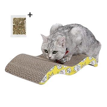 Rhww Rascador Gato Carton Ondulado Curvo Apoderarse Cero Cama Hierba Gatera Pad,Juguete Interactivo,Tabla De ArañAr para Mascotas,DiseñO De Gato En Forma De ...
