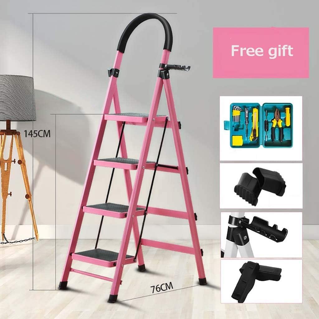Plegable 4 Pasos Escalera,multifunción Escaleras De Mano Espesar Antideslizante Portátil Acero Escalera Para El Hogar Cocina Oficina Almacén-rosado 145x76cm(57x30inch): Amazon.es: Bricolaje y herramientas