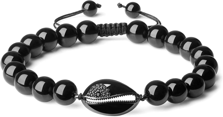 COAI Stone Beaded Black Tourmaline Shell Bracelet