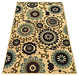 Rubber Backed 2-Piece Rug SET Floral Swirl Medallion Beige Multicolor Non-Slip Area Rug - Rana Collection Kitchen Dining Living Hallway Bathroom Pet Entry Rugs RAN2036-2PC