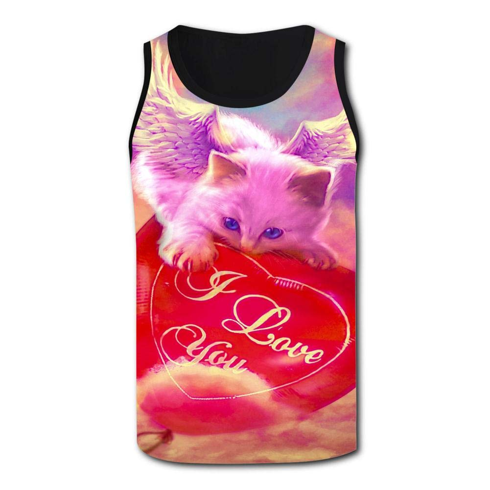 Atafutf Mens Tank Top,Fantasy Angel Cat Valentines Day 3D Printed Basketball//Daily//Sport Vest T Shirt