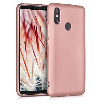 kwmobile Funda para Xiaomi MI MAX 3 - Carcasa para móvil en TPU Silicona - Protector Trasero en Oro Rosa Metalizado