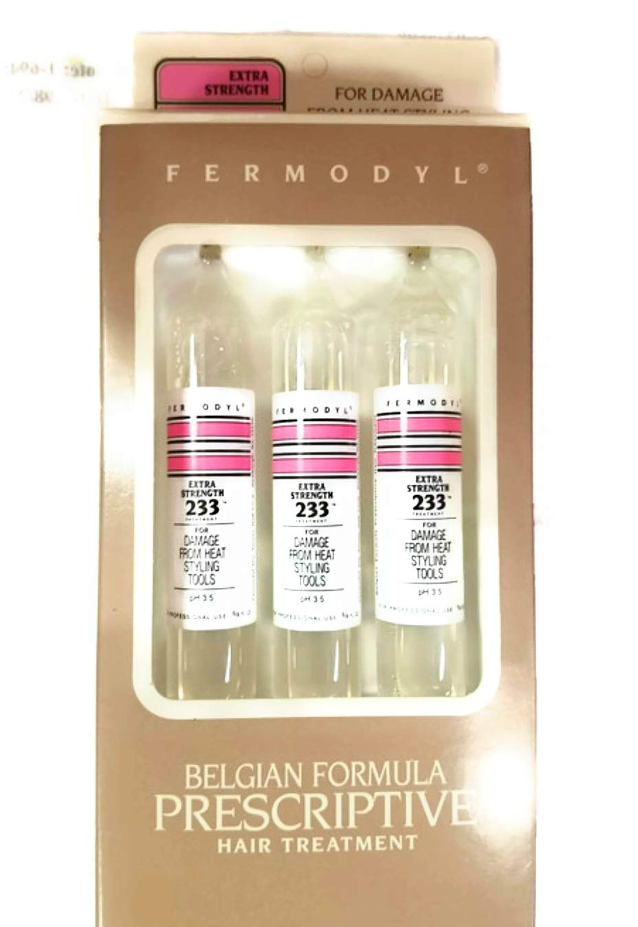 FERMODYL Extra Strength 233 Treatment - Belgian Formula Prescriptive Hair Treatment - for damage from heat styling tools, color, bleach, or relaxer. 5/8 Fl Oz Vials - 3 Pack by Fermodyl