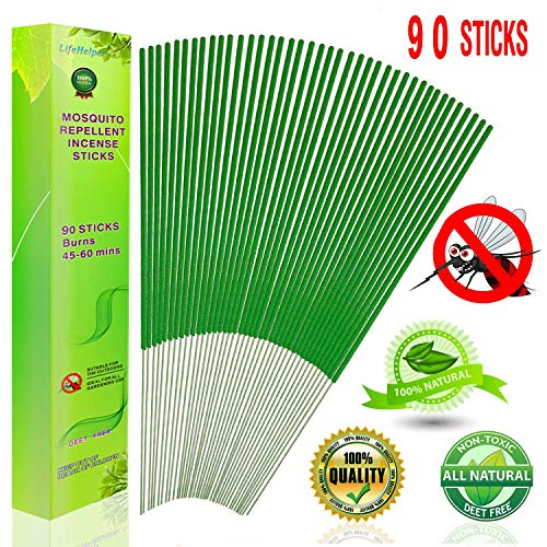 LifeHelper Mosquito Repellent Sticks 90 Sticks, Insect Incense Stick, 100% Natural, ECO Friendly, Non Toxic, Bamboo Infused with Lemongrass and Citronella, DEET Free Outdoor Bug Pest Incense Sticks