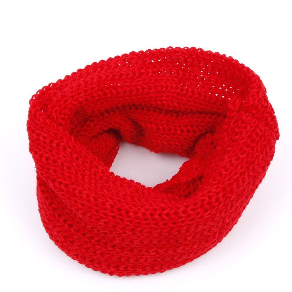 UTENEW Baby Kids Infinity Scarf Winter Neck Warmer Scarves Soft Knitted Wool Woolen Blend Scarf Pink