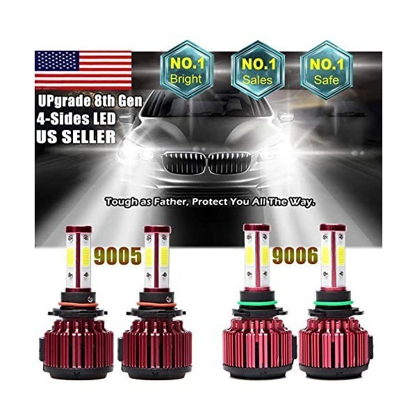 4Pcs 9005 9006 LED Headlight Bulbs Cool White 6000K High/Low Beam Combo Set For Chevrolet Silverado 1500/GMC/Chevy Tahoe/Dodge/Chrysler/Ford   40000LM   4 COB Chip