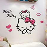 KWOKGUO Wall Sticker 3D Hello Kitty Acrylic Room