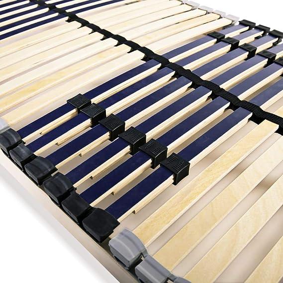 vidaXL Somier de Láminas con 42 Listones 7 Regiones 90x200 cm Mueble Cama