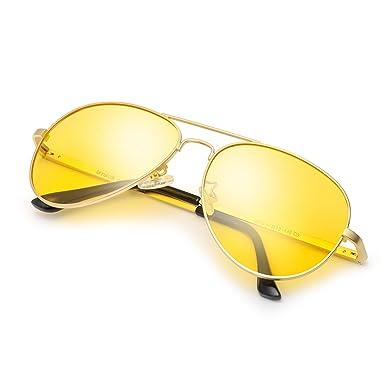 HD Pilotenbrille Sonnenbrille Autofahren Damen Herren mit Gelben Polarisierten Metallrahmens Entspiegelten 100% UV400 Schutz (Gold/gelb) l1r10