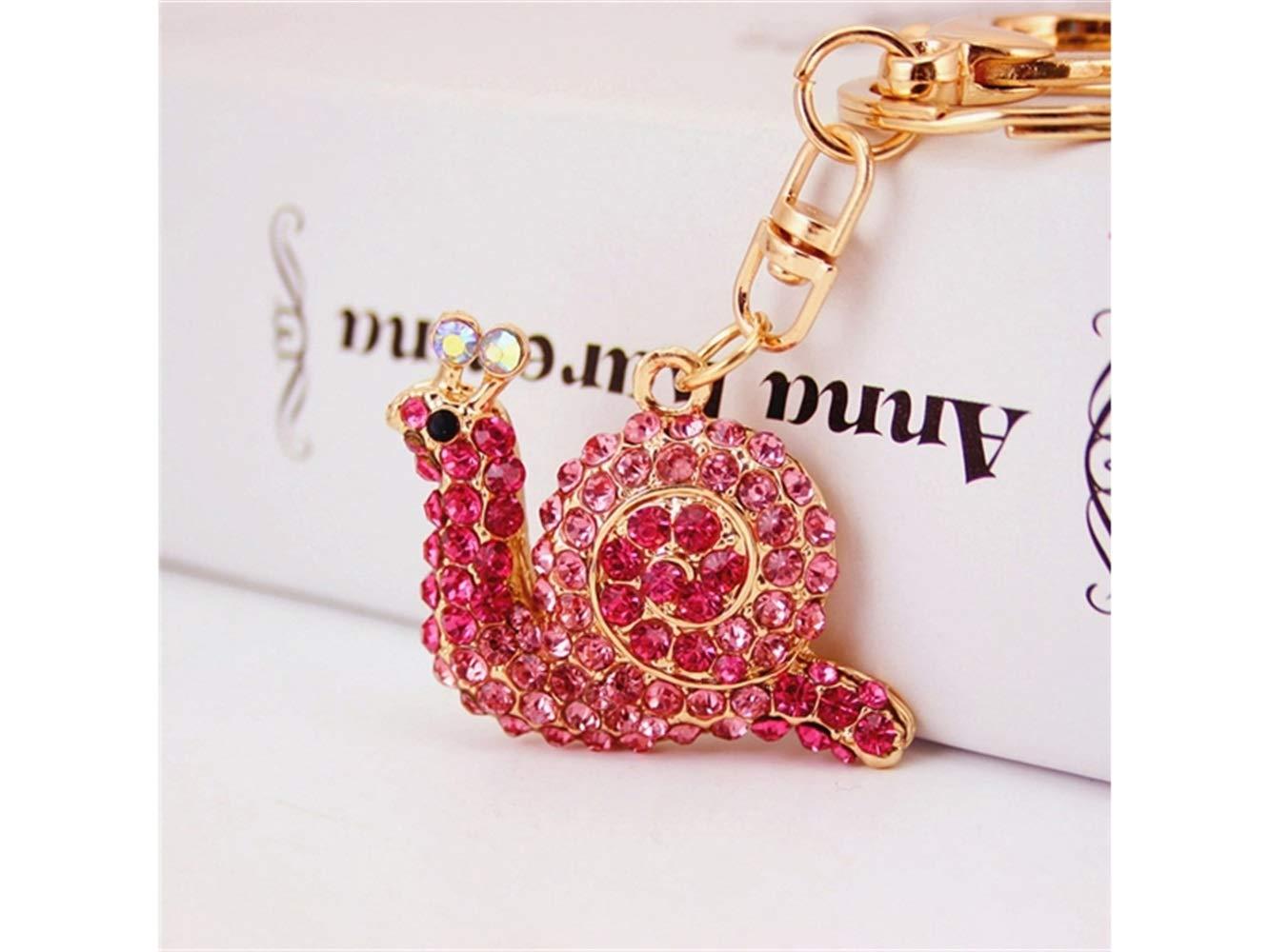 Car Keychain, Cute Small Snail Keychain Animal Key Trinket Car Bag Key Holder Decorations(Pink) for Gift