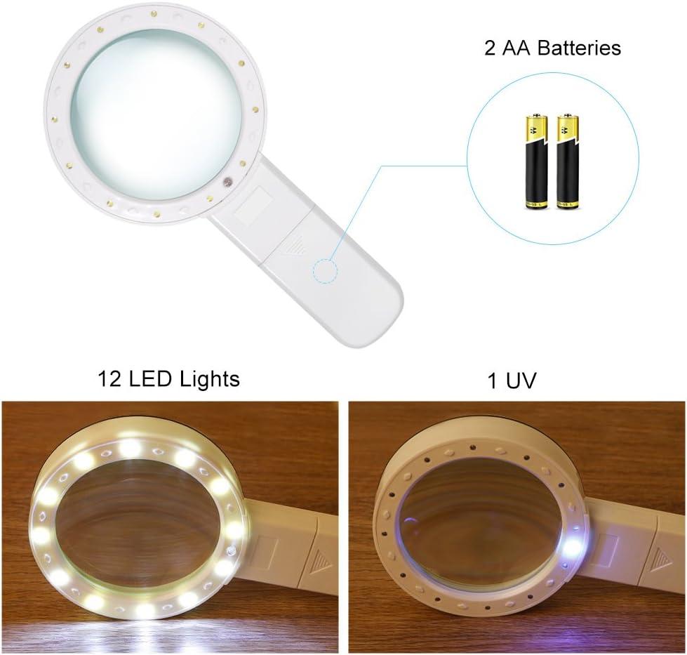 Yosoo Lente dingrandimento portatile 30X con 12 LED per gli anziani Monete da lettura Gioielli Degenerazione maculare Lente dingrandimento