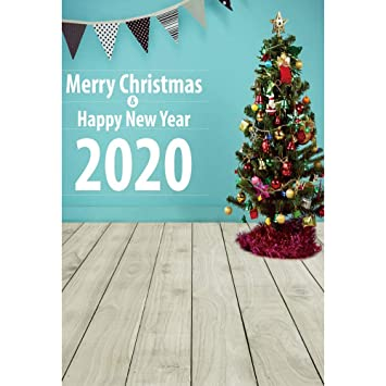 YongFoto 7x10ft Merry Christmas Backdrop Happy New Year 2020 Photography  Background Wooden Floor Flags Xmas Tree Party Banner Interior Decoration  Kids