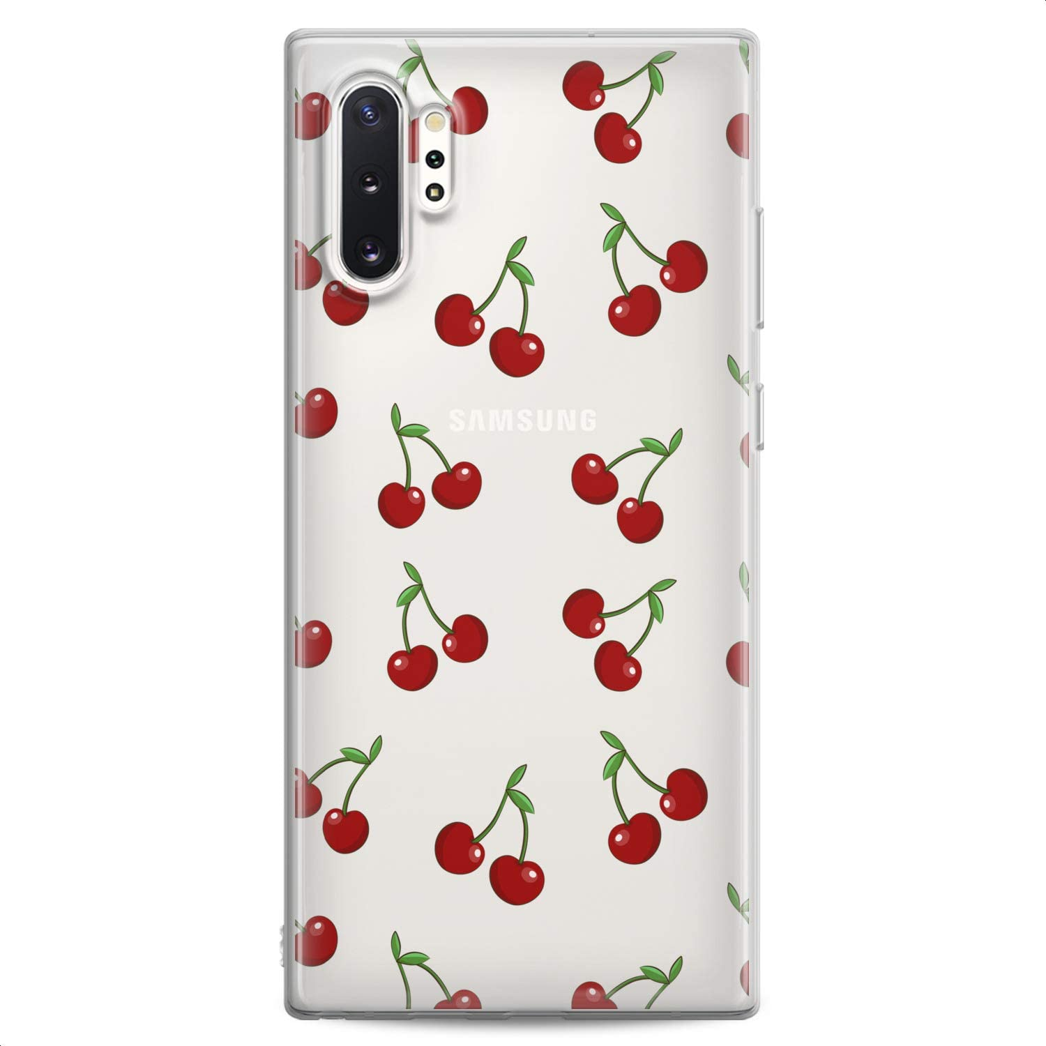 Cavka TPU Case Replacement for Samsung S21 Ultra S20 Plus S10 Lite Note 20 5G S10e S9 Cherry Soft Red Lovely Tropic Food Fruit Clear Summer Print Design Flexible Silicone Slim fit Cute Cute Luxury