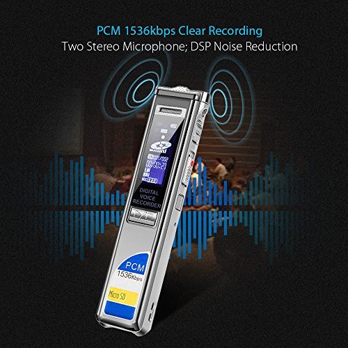 Digital Voice Recorder PCM 1536Kbps CENLUX,Sound Audio Recorder,8GB USB  Dictaphone for Lectures,Noise Reduction,Voice Activated with MP3  Player,Back