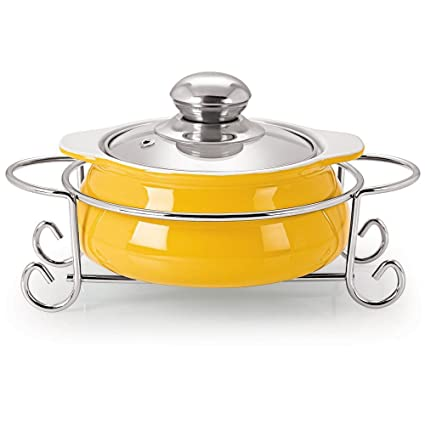 Cello Prego Saporita Pot Casserole With Metal Stand 1500ml, Yellow