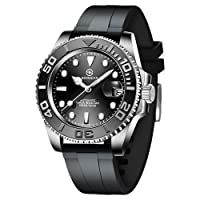 Men's Automatic Watch, Elegant Casual Mechanical Watch with Sapphire Glass, Date, Calendar, Stainless Steel Strap