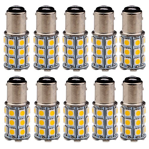 EverBrightt 10-Pack Warm White 1157 BAY15D 5050 27SMD LED Replacement Bulb Cornering Lamp Brake Light DC - Replacement Cornering Light