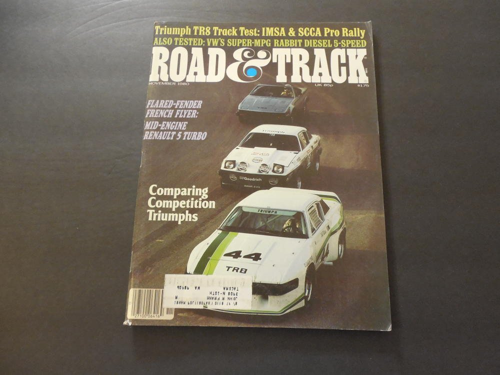 Road Track Nov 1980 TR8; VW Rabbit Diesel; Renault 5 Turbo at Amazons Entertainment Collectibles Store