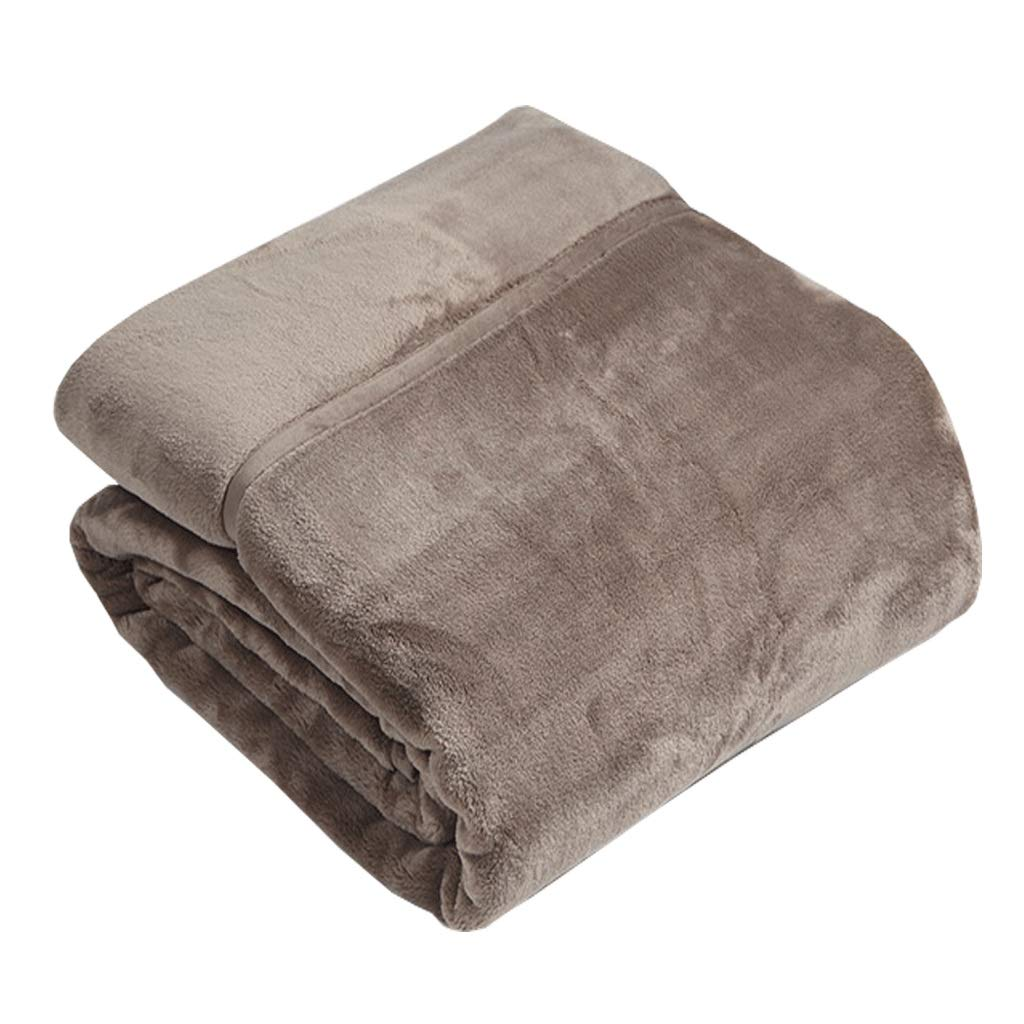 JIANXIN 毛布、羽毛布団2層毛布、ソファー用ブランケット、スーパーウォームソフト、マイクロファイバーソリッド、厚手のキングサイズベッドスローベッドスプレッド (色 : ベージュ, サイズ さいず : 140cm*200cm) B07J5T4X56