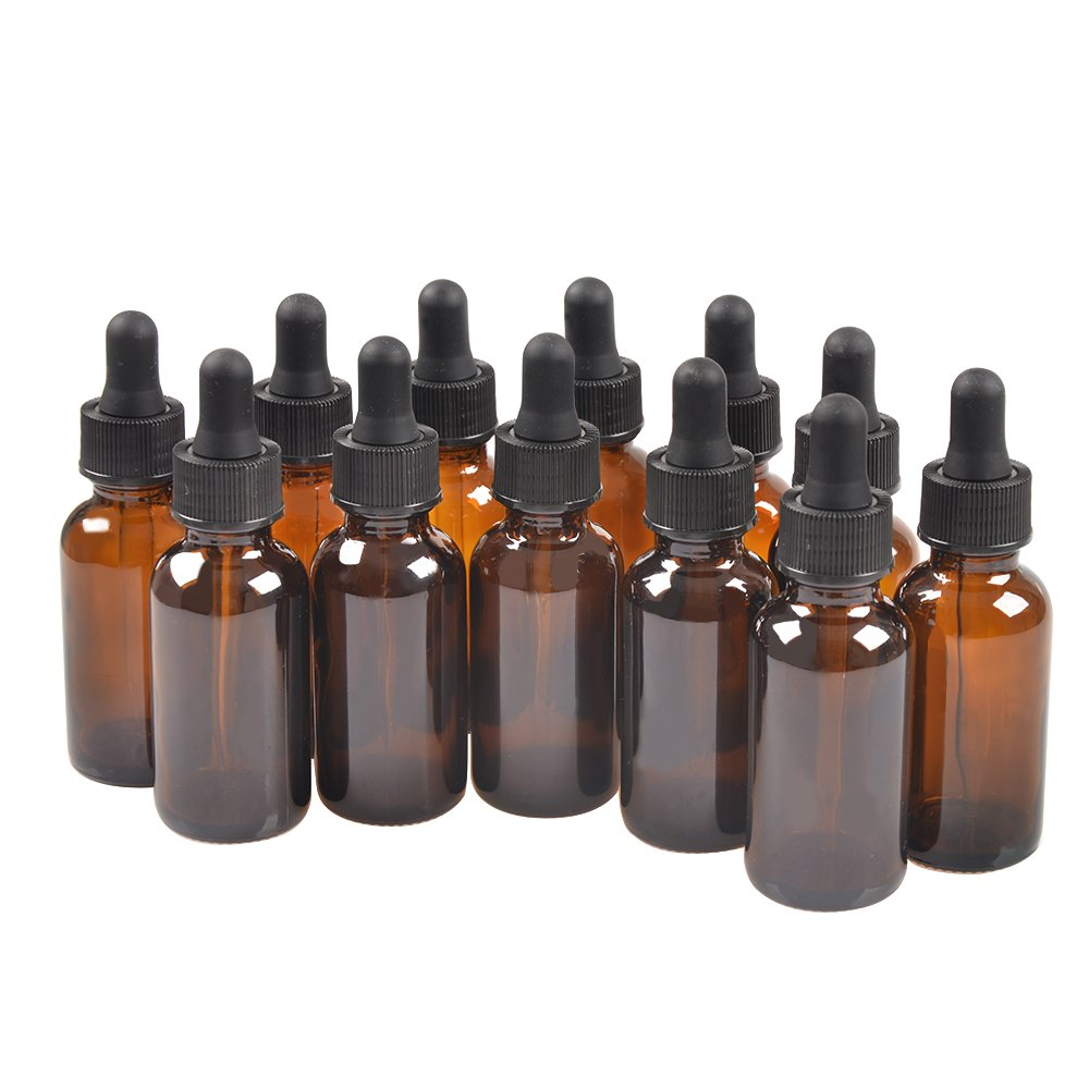 StarSide 12 Pack,2oz 2 oz,Amber Glass Bottle Bottles with Black Cap and Glass Droppers.Using for Essential Oils,Lab Chemicals,Colognes,Perfumes & Other Liquids.Free 12 Chalk Labels