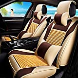 HOMEE@ Summer Wood Bead Car Cushion Four Seasons Common Cold Pad Car Supplies Car Cushion Sets , Beige,beige