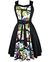 Women's Hemet Pinup Comic Black Full Circle Dress