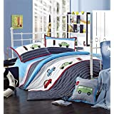 LELVA Embroidery Cartoon Car Design Kids Reactive Printing High-grade Cotton 4 Piece Bedding Set Quilt Covers for Boys Twin Full Size (Twin)