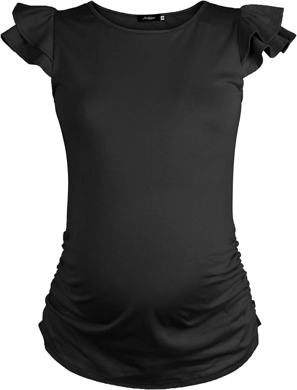 Molliya Abbigliamento Premaman T-Shirt Canotta Gravidanza Top con Carina Manica Volante