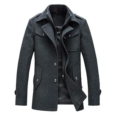 YOUTHUP Manteau Homme Laine Hiver Chaud Trench-Coat Caban élégant Blouson  Parka Veste Slim Fit 85c523f5f759