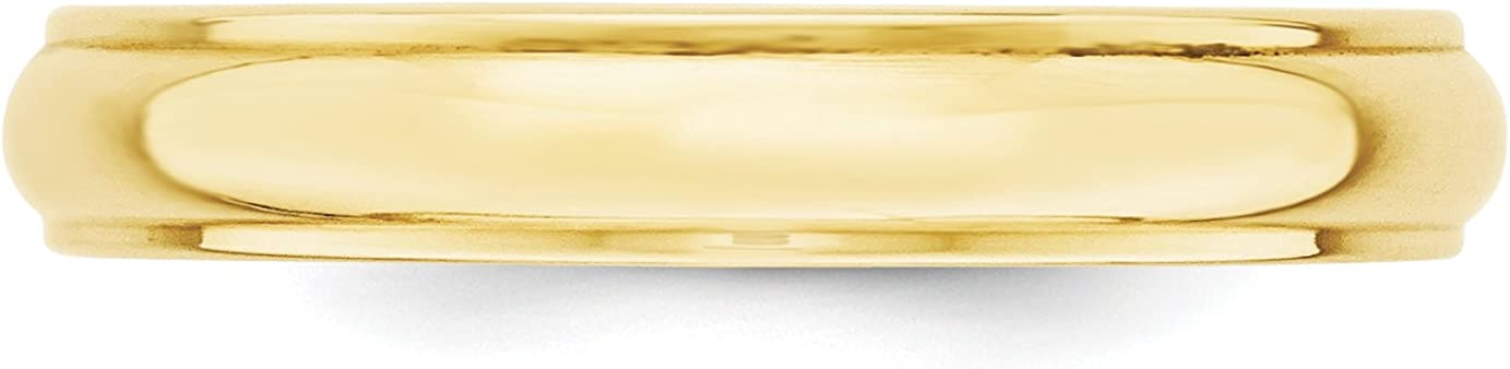 10k Yellow Gold 4mm Engravable Half Round with Edge Band