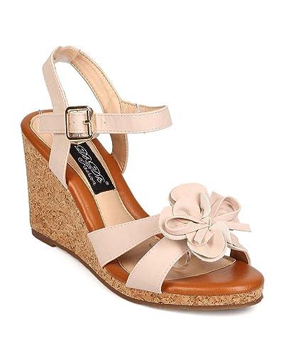 681df28101c DBDK Women Leatherette Flower Open Toe Ankle Strap Cork Platform Wedge  Sandal FJ05 - Nude (