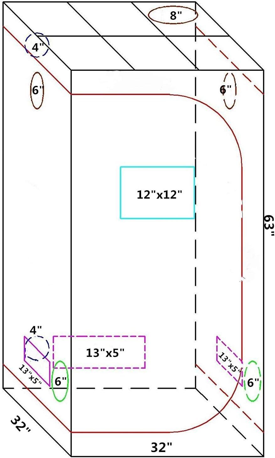 Borsa per Attrezzi e Vassoio da Pavimento con Finestra di osservazione 80 x 80 x 160 cm Tenda idroponica in Tessuto Oxford RIMARUP