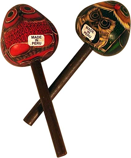 Amazon.com : Wholesale Pack 12 Owl Gourd Maracas Hand Carved ...